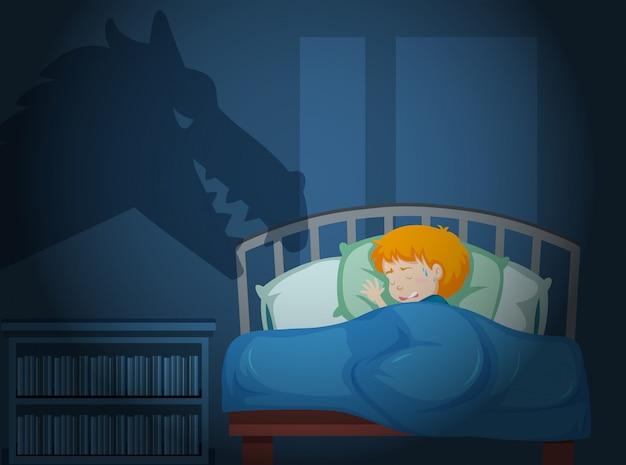 Um garoto tendo um pesadelo