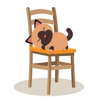 Um gato bonito personagem dormindo na cadeira e olhar relaxante
