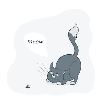 Um gato cinzento bonito dos desenhos animados, brincando com uma mosca.