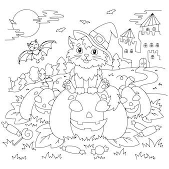 Um gato com um chapéu de bruxa sentado em uma abóbora à noite tema de halloween página de livro para colorir para crianças