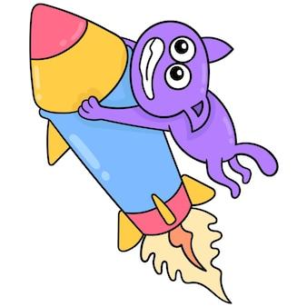 Um gato com uma cara assustada foi arrastado voando para o céu por um míssil, arte de ilustração vetorial. imagem de ícone do doodle kawaii.