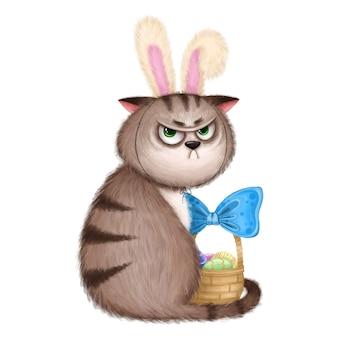 Um gato engraçado descontente com uma cesta de páscoa e orelhas de coelho.