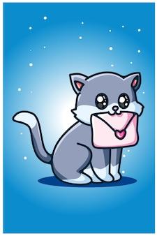 Um gato fofo carregando uma carta de amor
