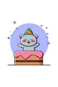 Um gato fofo com um bolo de aniversário em desenho animado.
