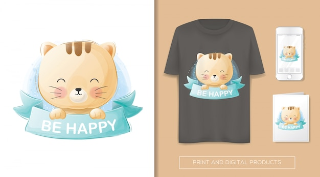 Um gato fofo e feliz