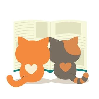 Um gato gêmeo que lê um livro grande. um personagem fofo de gato com um livro.