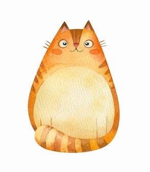 Um gato gordinho ruivo sorrindo isolado no branco