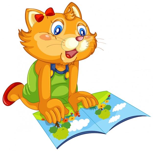 Um gato lendo livro