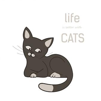 Um gato marrom bonito dos desenhos animados, isolado