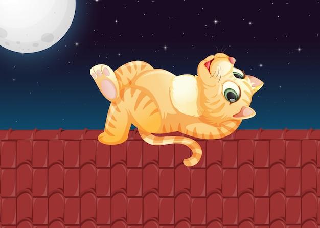 Um gato preguiçoso no telhado