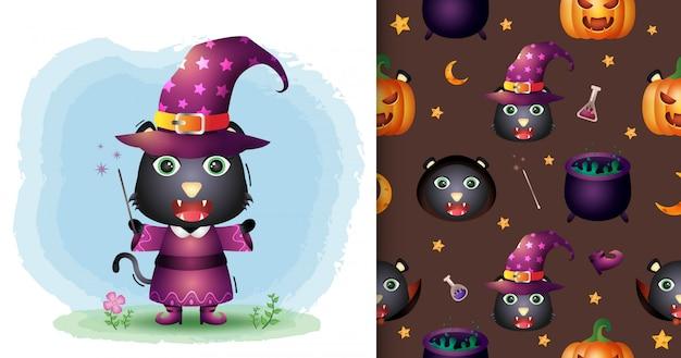 Um gato preto bonito com uma coleção de personagens de halloween. padrão sem emenda e desenhos de ilustração