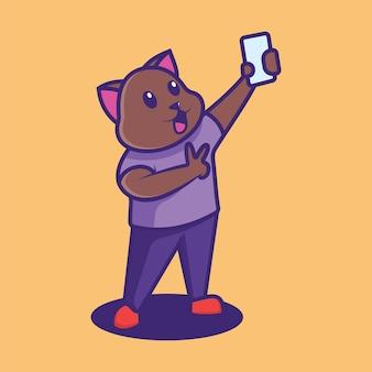 Um gato tirando uma selfie