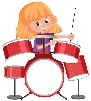 Um gitl tocando tambor