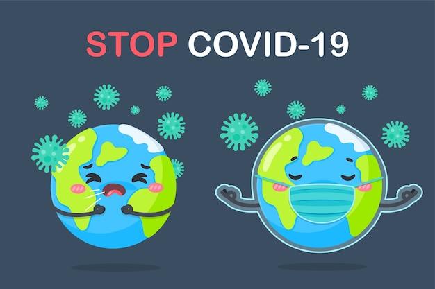 Um globo de desenho animado usando uma máscara o conceito de quarentena em casa para prevenir o coronavírus.
