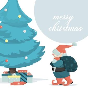 Um gnomo de natal carrega uma sacola de presentes sob a árvore festiva. um personagem escandinavo de desenho animado.