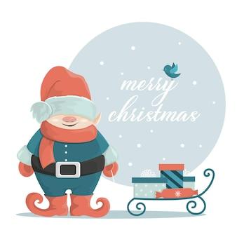 Um gnomo de natal sorridente carrega presentes. um personagem escandinavo fabuloso em estilo cartoon. vetor