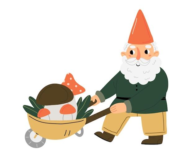Um gnomo ou anão de jardim bonitinho carregando um carrinho de cogumelos personagem de conto de fadas