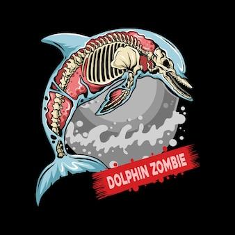 Um golfinho zumbi pula na água e desenha isso como um logotipo de pescador