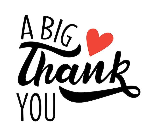 Um grande agradecimento à mão letras