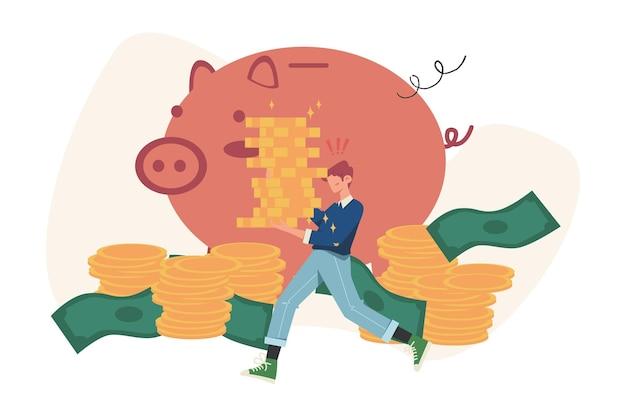 Um grande cofrinho na forma de um leitão em um fundo branco, serviços financeiros, economizando ou acumulando dinheiro