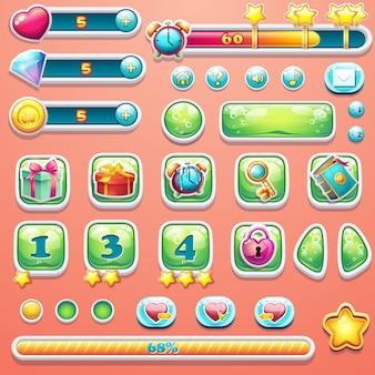 Um grande conjunto de barras de progresso, botões, reforços, ícones para o usuário