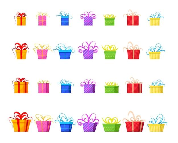 Um grande conjunto de caixas de presente coloridas com fita em 3d e em estilo simples. caixas de presente volumosas e planas. ilustração vetorial
