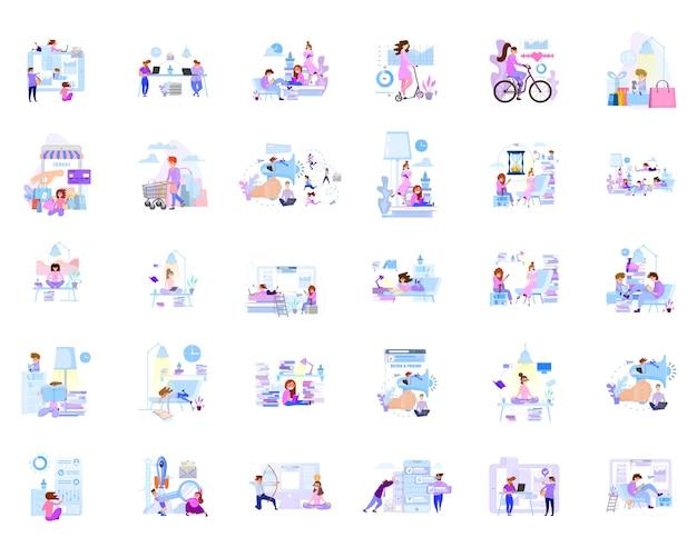 Um grande conjunto de cenas de negócios de personagens em comunicação no escritório e em casa.
