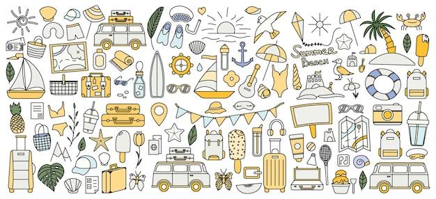 Um grande conjunto de coisas para viajar à montanha e ao mar. conjunto de coisas de viagens de férias. coleção de verão. ícone de linha do vetor. traço editável. estilo doodle.