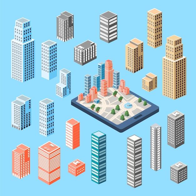 Um grande conjunto de edifícios isométricos, arranha-céus e casas.