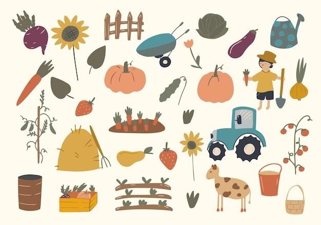 Um grande conjunto de elementos e personagens da fazenda dos desenhos animados. uma pessoa, ferramentas, animais de fazenda, um trator, vegetais destacados em um fundo branco, frutas.
