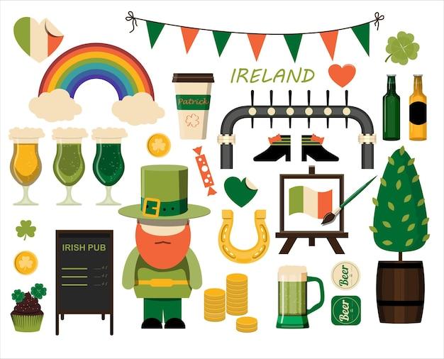 Um grande conjunto de ícones planos para o dia de são patrício, um conjunto de ilustrações para uma postagem de convite de festa ...