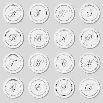 Um grande conjunto de letra inicial em formas ornamentais arredondadas com o alfabeto