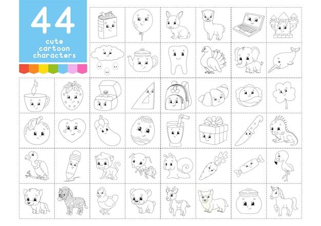 Um grande conjunto de livros de colorir para crianças. páginas para colorir animais de natal no verão
