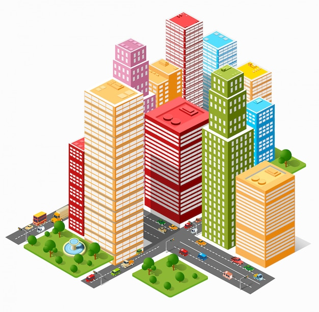 Um grande conjunto de objetos urbanos isométricos. um conjunto de prédios urbanos, arranha-céus, casas