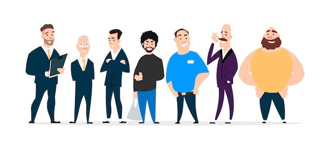 Um grande conjunto de personagens diferentes em estilo simples dos desenhos animados, isolado em um fundo branco.