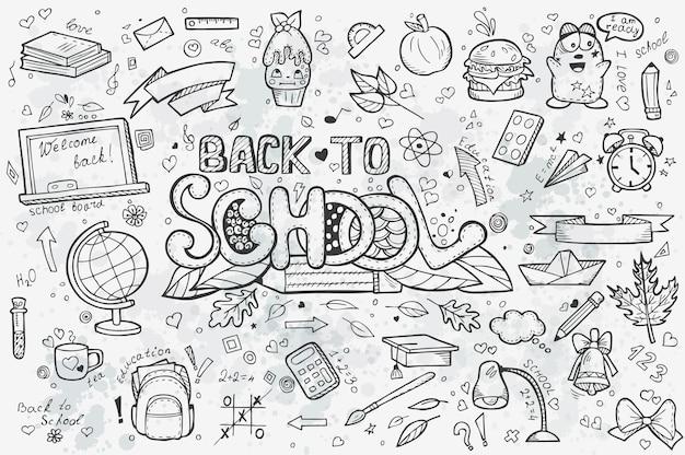 Um grande conjunto de rabiscos desenhados à mão de volta à escola. contorno preto