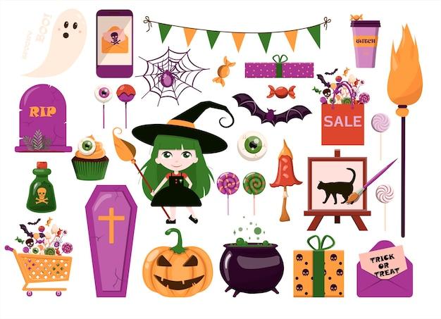 Um grande conjunto de vetores para modelos de desenhos animados de design plano de halloween para anúncios de convites