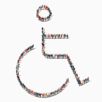 Um grande grupo de pessoas com a forma de um deficiente, inválido, remédio, ícone.
