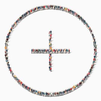 Um grande grupo de pessoas com a forma de um ícone de sinal de adição.