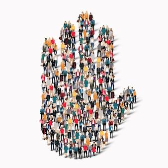 Um grande grupo de pessoas com a forma de uma mão