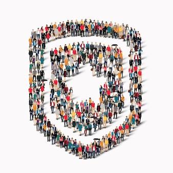 Um grande grupo de pessoas em forma de escudo protetor