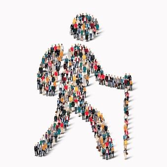 Um grande grupo de pessoas em forma de homem