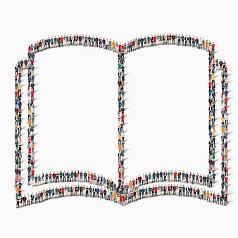 Um grande grupo de pessoas em forma de livro, lendo.
