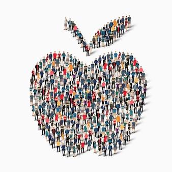 Um grande grupo de pessoas em forma de maçã
