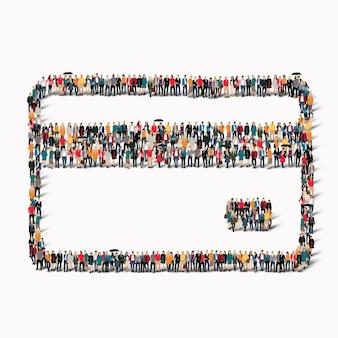 Um grande grupo de pessoas na forma de um cartão de crédito