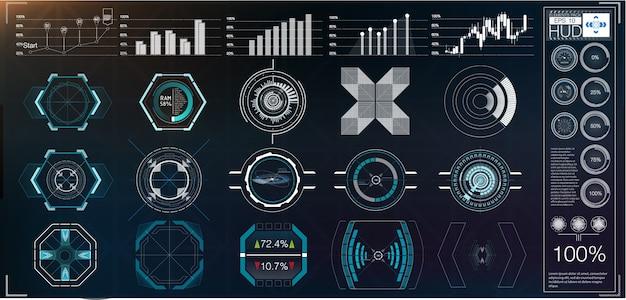 Um grande pacote de elementos hud, gráficos, monitores, instrumentos analógicos e digitais, escalas de radar.
