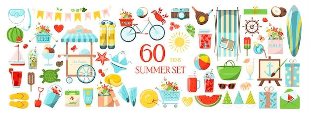 Um grande vetor de verão conjunto de acessórios para férias na praia à beira-mar design plano conjunto de ícones de desenho animado