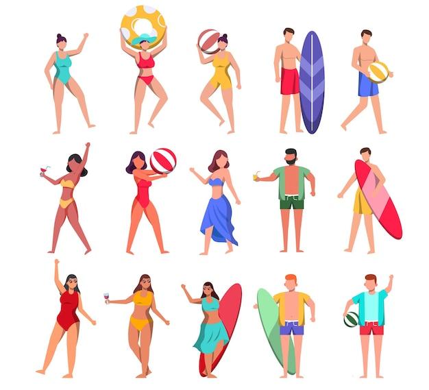 Um grupo de 15 personagens masculinos e femininos em trajes de banho e poses com recursos