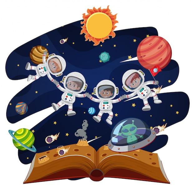 Um, grupo, de, astronauta, em, livro aberto