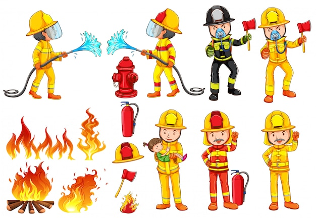 Um grupo de bombeiros